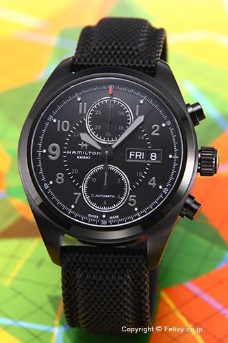 HAMILTON ハミルトン 腕時計 カーキ フィールド オートクロノ オールブラック H71626735