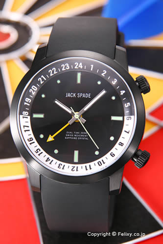 ジャックスペード 腕時計 メンズ JACK SPADE Cortlandt Dual Time (コートランド デュアルタイム) オールブラック(ホワイトポイント) WURU0047 【あす楽】
