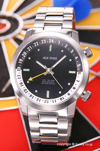 ジャックスペード 腕時計 メンズ JACK SPADE Clarkson Dual Time (クラークソン デュアルタイム) ブラック(ホワイトポイント) WURU0044B 【あす楽】