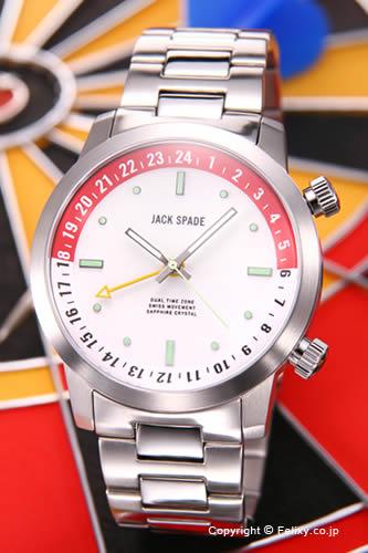 ジャックスペード 腕時計 メンズ JACK SPADE Clarkson Dual Time (クラークソン デュアルタイム) ホワイト(レッドポイント) WURU0046 【あす楽】