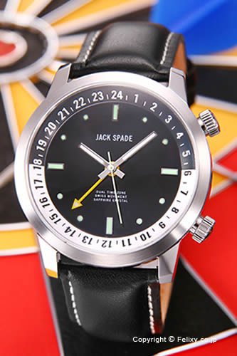 ジャックスペード 腕時計 メンズ JACK SPADE Stanton Dual Time (スタントン デュアルタイム) ブラック(ホワイトポイント) WURU0044S 【あす楽】