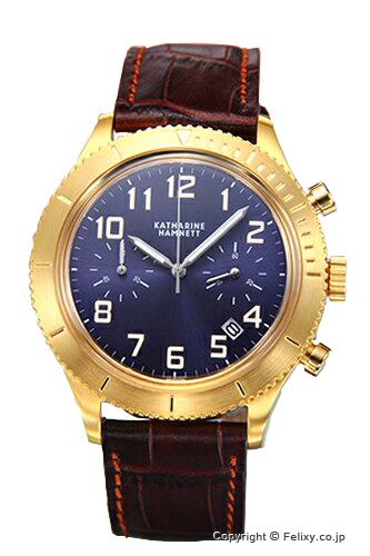 キャサリンハムネット 時計 KATHARINE HAMNETT 腕時計 メンズ レトロミリタリー クロノ ネイビー×イエローゴールド/ダークブラウンレザー KH28E3-61 【あす楽】
