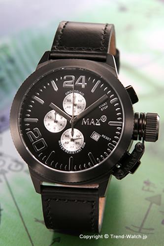 マックス 腕時計 MAX XL WATCHES Special Edition クロノグラフ 47mm オールブラック&シルバー 5-MAX524 【MAX XL WATCH】