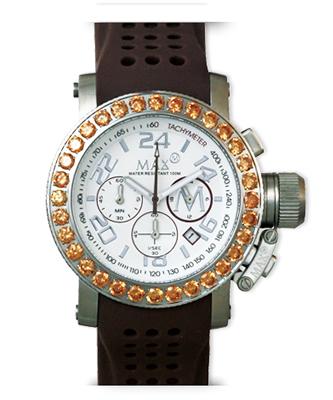マックス 腕時計 MAX XL WATCHES クロノグラフ 42mm ホワイト(Withラインストーン) 5-MAX515 【MAX XL WATCH】【マックス 時計】
