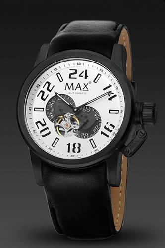 MAX XL WATCHES / マックス 腕時計 クラシック コレクション オートマチック 47mm SS(ブラックIPベゼル) シルバー 5-MAX528 【MAX時計】