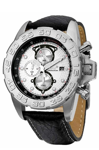 MAX XL WATCHES マックス メンズ腕時計 Grandprix 45mm (グランプリ) シルバー/ブラックレザーストラップ 5-MAX473 【マックス 時計】