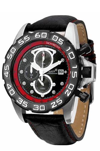 低価格の MAX XL WATCHES マックス メンズ腕時計 Grandprix 45mm (グランプリ) ブラック×レッド/ブラックレザーストラップ 5-MAX474 【マックス 時計】, TSSショップ 10af4e51