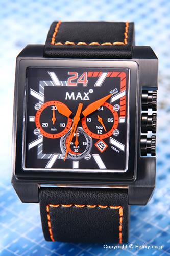 MAX XL WATCHES マックス メンズ腕時計 Grandprix Square (グランプリ スクエア) オールブラック×オレンジ/ブラックレザーストラップ 5-MAX525 【マックス 時計】【あす楽】