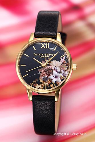 オリビアバートン レディース 時計 OLIVIA BURTON 腕時計 MARBLE FLORALS BLACK & GOLD OB16CS11 【あす楽】