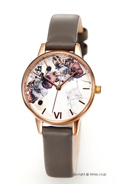 オリビアバートン OLIVIA BURTON 腕時計 MARBLE FLORALS L.GREY&ROSEGOLD OB16MF08 【あす楽】