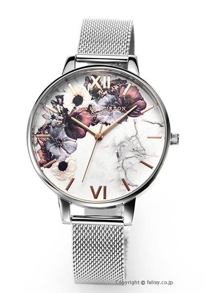オリビアバートン OLIVIA BURTON 腕時計 MARBLE FLORAL SILVER MESH & ROSEGOLD OB16MF09 【あす楽】