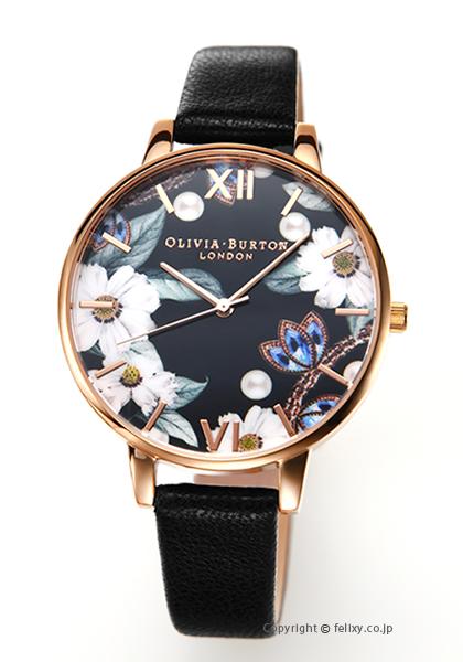 オリビアバートン OLIVIA BURTON 腕時計 BEJEWEWLLED FLORALS BLACK & ROSEGOLD OB16BF04 【あす楽】