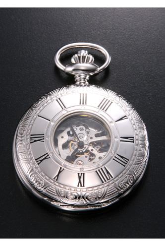 ラポート 懐中時計(ポケットウォッチ) RAPPORT 手巻き ハーフスケルトン PW57 【あす楽】