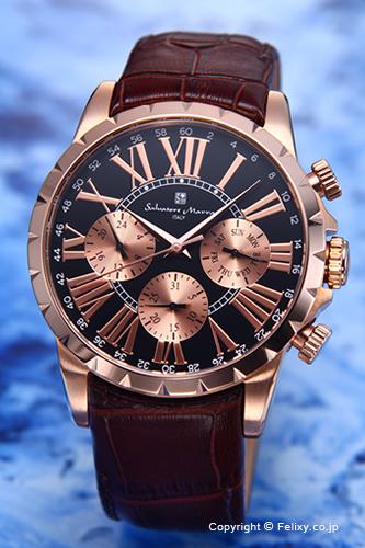 サルバトーレマーラ 腕時計 メンズ Salvatore Marra ブラック×ピンクゴールド SM15103-PGBK
