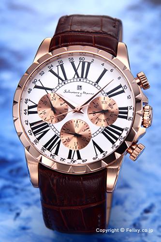 サルバトーレマーラ 腕時計 メンズ Salvatore Marra ホワイト×ピンクゴールド SM15103-PGWH
