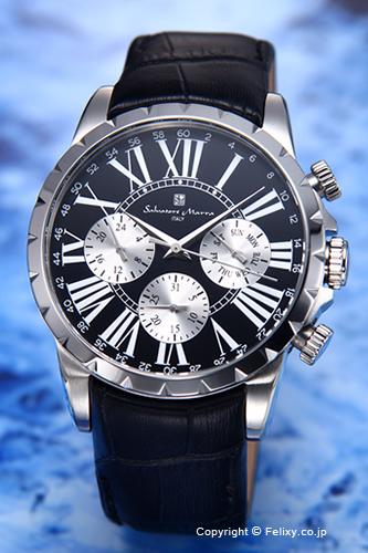 サルバトーレマーラ 腕時計 メンズ Salvatore Marra ブラック×シルバー SM15103-SSBK