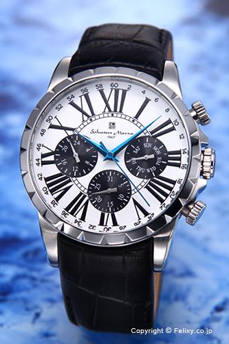 サルバトーレマーラ 腕時計 メンズ Salvatore Marra ホワイト×シルバー SM15103-SSWH