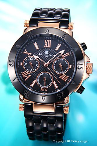 サルバトーレマーラ 腕時計 メンズ Salvatore Marra ブラック×ピンクゴールド SM14118-PGBK
