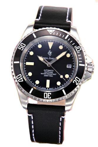 セントジョイナス 腕時計 メンズ 自動巻き SJ101-01 ブラックレザー