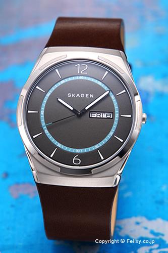 スカーゲン 腕時計 SKAGEN メルビ グレー(ライトブルー)/ダークブラウンレザーストラップ SKW6305 【あす楽】