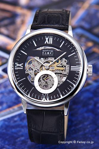 ゾンネ 腕時計 SONNE 時計 メンズ SONNE×HAORI Produced KOICHI IWAKI (ゾンネ×ハオリ 岩城滉一 コラボレーションモデル) ブラック/ブラックレザーストラップ H014SS-BK