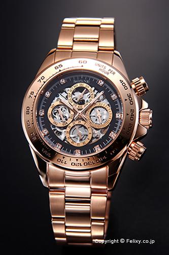 ゾンネ 腕時計 SONNE 時計 メンズ オートマチックマルチ ブラック×ピンクゴールド S159PGB