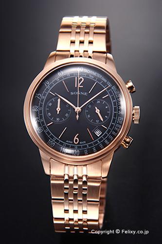 ゾンネ 腕時計 SONNE 時計 メンズ ヒストリカル コレクション ブラック×ピンクゴールド HI002PG