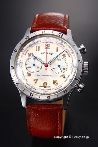 ゾンネ 腕時計 SONNE 時計 メンズ ヒストリカル コレクション アイボリー/ブラウンレザーストラップ HI003IV-BR