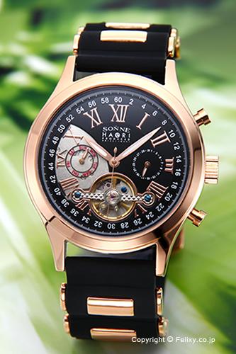 ゾンネ SONNE 腕時計 SONNE×HAORI Produced KOICHI IWAKI (ゾンネ×ハオリ 岩城滉一 コラボレーションモデル) ブラック×ピンクゴールド H016PG-BK