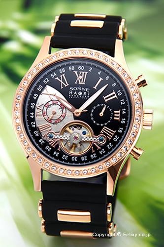 ゾンネ 腕時計 SONNE 時計 メンズ SONNE×HAORI Produced KOICHI IWAKI (ゾンネ×ハオリ 岩城滉一 コラボレーションモデル) ブラック×ピンクゴールド H016PGZ-BK