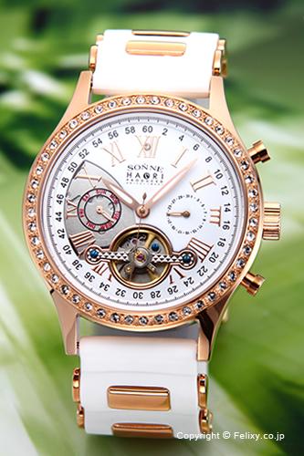 ゾンネ 腕時計 SONNE 時計 メンズ SONNE×HAORI Produced KOICHI IWAKI (ゾンネ×ハオリ 岩城滉一 コラボレーションモデル) ホワイト×ピンクゴールド H016PGZ-WH