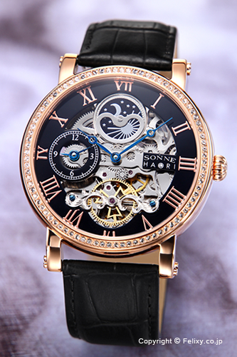 ゾンネ 腕時計 SONNE 時計 メンズ SONNE×HAORI Produced KOICHI IWAKI (ゾンネ×ハオリ 岩城滉一 コラボレーションモデル) ブラック×ピンクゴールド/ブラックレザーストラップ H013PGZ-BK
