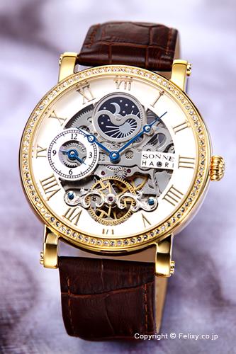 ゾンネ 腕時計 SONNE 時計 メンズ SONNE×HAORI Produced KOICHI IWAKI (ゾンネ×ハオリ 岩城滉一 コラボレーションモデル) シルバー×ゴールド/ダークブラウンレザーストラップ H013YGZ-SV