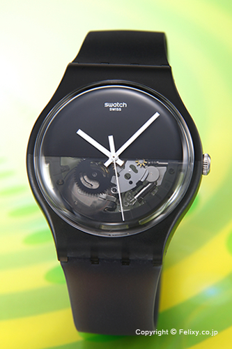Swatch手表SWATCH NEW GENT DIPBLACK(纽金特浸泡的黑色)半骨架SUOB116