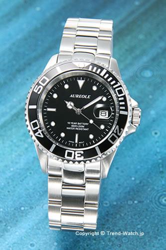 オレオール / AUREOLE 腕時計 Diver's(ダイバーズ) ブラック(ブラックベゼル) SW-416M-1【オレオール 時計】