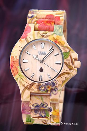ウィーウッド WE WOOD 腕時計 Date (デイト) フラワーベージュ