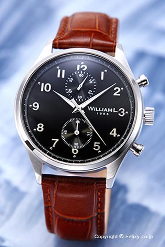 WILLIAM L. ウィリアムエル 腕時計 Vintage Style Chronograph ブラック WLAC02NRCM 【あす楽】