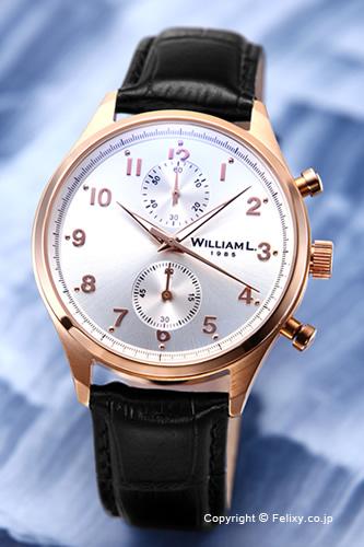WILLIAM L. ウィリアムエル 腕時計 Vintage Style Chronograph シルバー×ローズゴールド WLOR02GOCN 【あす楽】