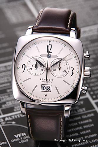 齊柏林飛艇 led 齊柏林飛艇男式手錶 LZ121 地中海 (LZ121-地中海) 計時銀/棕色皮錶帶 7784 4