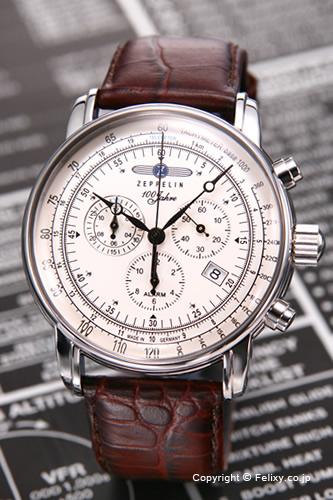ツェッペリン 時計 受注生産品 7680-1N 国内正規代理店商品 送料無料 売れ筋 新作送料無料 腕時計 アラーム ZEPPELIN ビンテージシルバー ツェッペリン生誕100周年モデル クロノグラフ メンズ