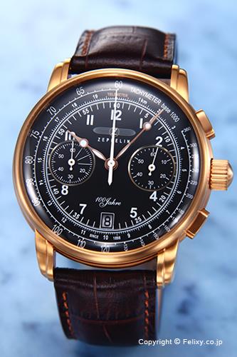 ツェッペリン 腕時計 メンズ ZEPPELIN Special Edition 100 Years Chronograph (100周年記念モデル クロノグラフ) ブラック×ローズゴールド 7676-2