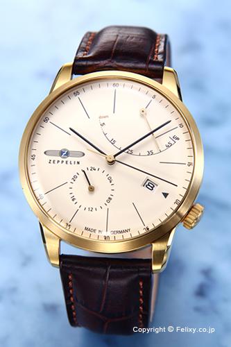 ツェッペリン 腕時計 メンズ ZEPPELIN Flat Line Power Reserve (フラットライン パワーリザーブ) アイボリー×ゴールド 7368-5