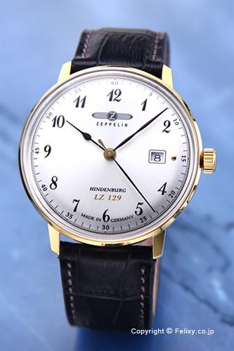 ツェッペリン /ZEPPELIN 腕時計 LZ129 Hindenburg (LZ129 ヒンデンブルク) シルバー×ゴールド/ブラックレザーストラップ 7044-4