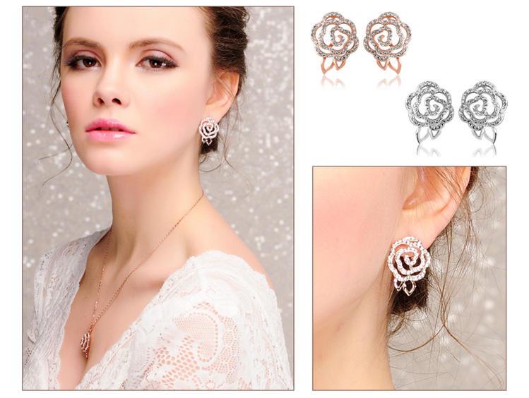 Use Luxurious Shine Beautiful Austria From Cz Diamond Cubic Zirconia A Gorgeous Rose Motif Earrings