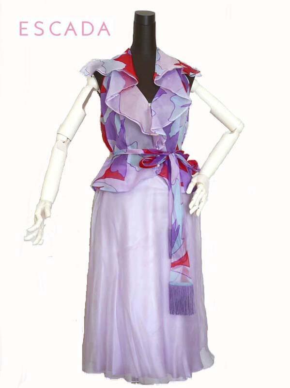 新品38#★ESCADAエスカーダシルクオーガンジー スカート/薄紫