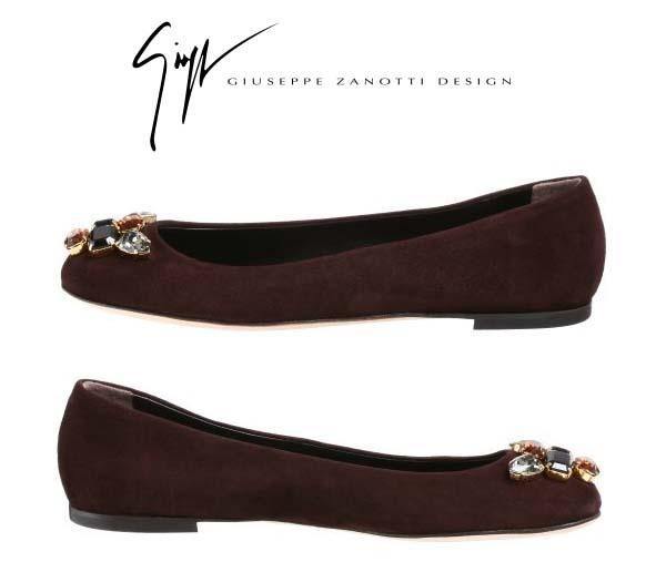 35 # 鞋類義大利朱塞佩 · 紮-斜戴 swaroskiju 珠寶與麂皮絨芭蕾舞鞋 ★ 棕色維克