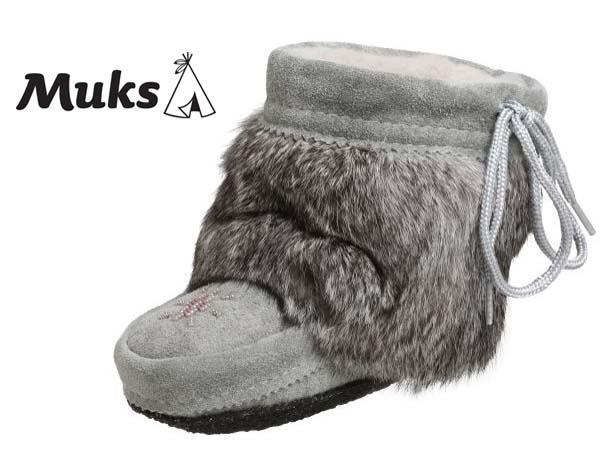 人気ブランド★muks ムックス 子供本毛皮ブーツ カナダ製/色:グレー