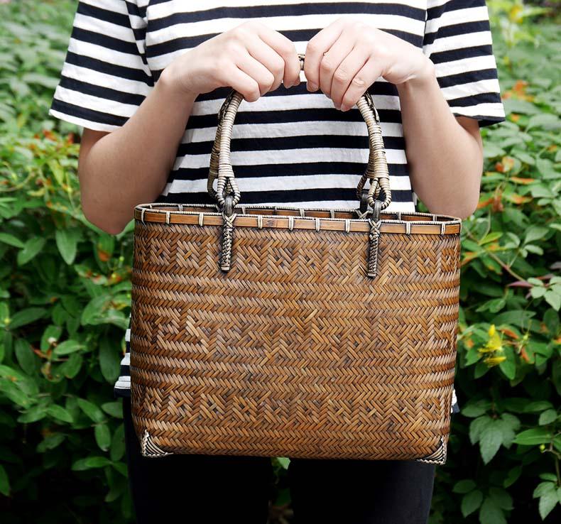 (イウハ) IUHA 浴衣 着物や夏の着物に似合う かごバッグ  巾着  竹 籐持ち手  自然素材 リゾート