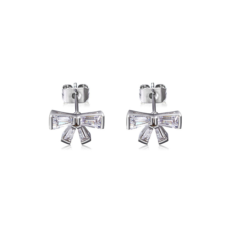 Crystal Alloy Pierced Earrings Made In Iuha Bow Tie Swarovski Company