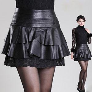 ミニ スカート ラムレザー スカート レザー ボトムス Aラインスカート レディースハイウエストスカート フリルスカート レース スカート 膝上 ブラック M-XXXLサイズ